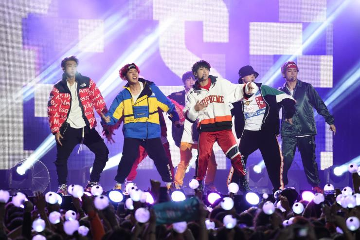 〈Jimmy Kimmel Live〉에 출연한 방탄소년단. ⓒGetty Images