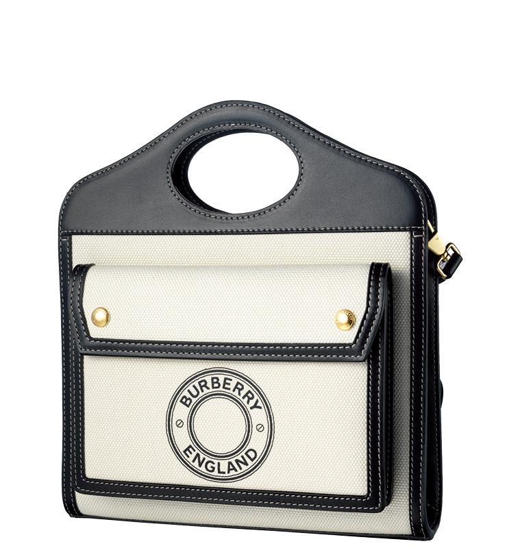 미니 로고 그래픽 캔버스 레더 포켓 백, 1백28만원, Burberry.