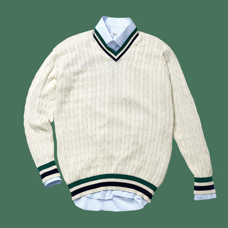 크리켓 코튼 스웨터 19만원 윌리엄 로키 by 랜덤워크. 코튼 셔츠 60만원대 로로피아나.