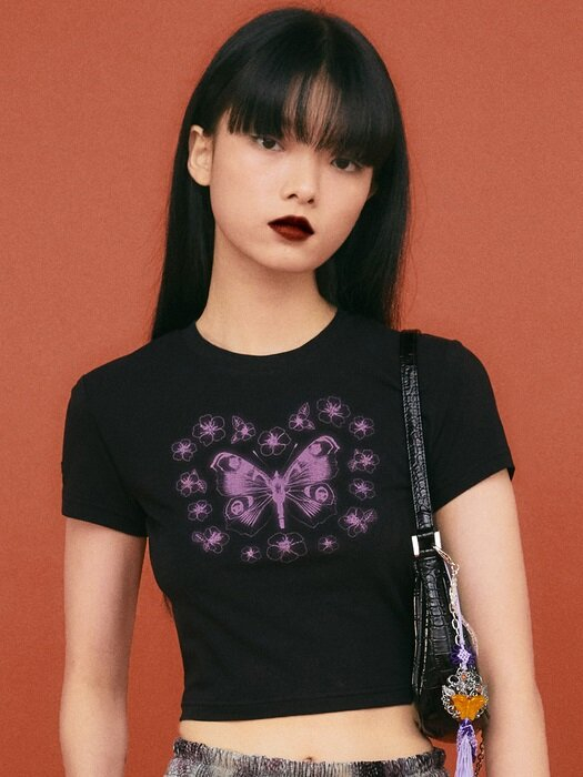 BADEE SWLLOWTAIL BUTTERFLY CROP TOP