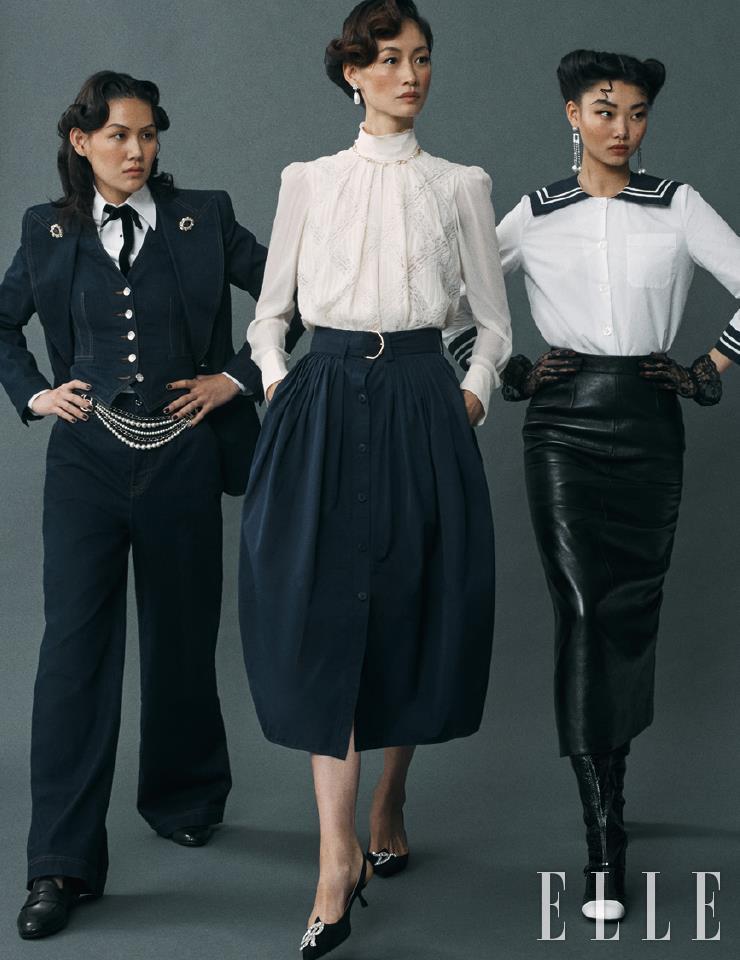 이지가 입은 스리 피스 수트와 셔츠, 보타이는 가격 미정, 모두 Dolce & Gabbana. 주얼 장식의 벨트는 가격 미정, Chanel. 슈즈는 가격 미정, Church's. 세라가 입은 자수 블라우스와 벨티드 스커트는 가격 미정, Chloé. 골드 네크리스는 가격 미정, Valentino Garavani. 진주 드롭 이어링은 5만9천원, Vintage Hollywood. 주얼 장식의 슬링백은 1백59만원, Roger Vivier. 윤영이 입은 세일러 칼라 블라우스와 레더 스커트, 롱부츠는 가격 미정, 모두 Miu Miu. 드롭 이어링은 가격 미정, Roger Vivier.