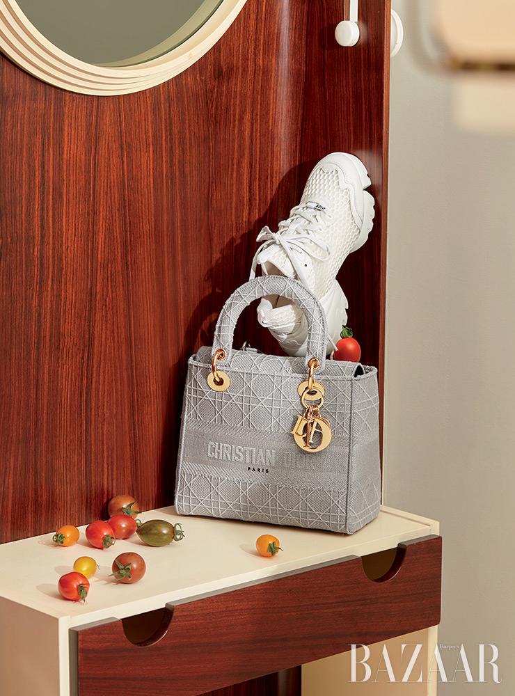 '레이디 디-라이트' 백, 메시 소재가 가미된 스니커즈는 Dior.