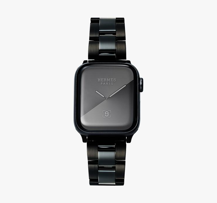 애플워치5 '에르메스 블랙' 44mm 스테인리스스틸 케이스는 가격 미정 Apple. 블랙 스테인리스스틸 소재의 밴드는 12만8천원 L'ordinaire.