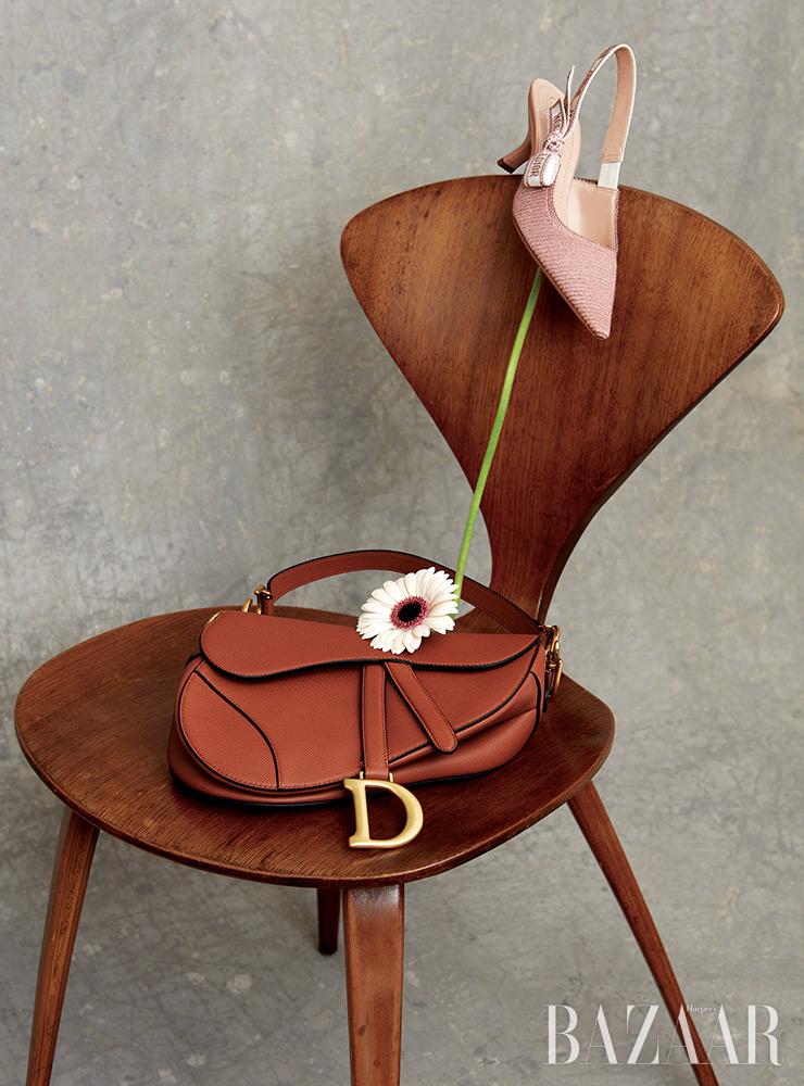 '자디올' 슬링백 펌프스, 브라운 카프스킨 '새들' 백은 Dior.