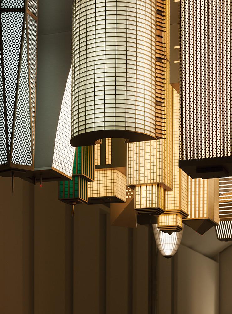 엘름그린 & 드라그셋(b.1961, b.1969), 〈City in the Sky〉 (detail), 2019, Stainless steel, steel, aluminium acrylic glass, LED lights, 400x500x220cm, Courtesy of the Artists, Kukje Gallery, Massimo De Carlo, and Perrotin. ≪오! 마이시티≫ 전시 전경, 파라다이스 아트스페이스, 인천. 사진: 박명래