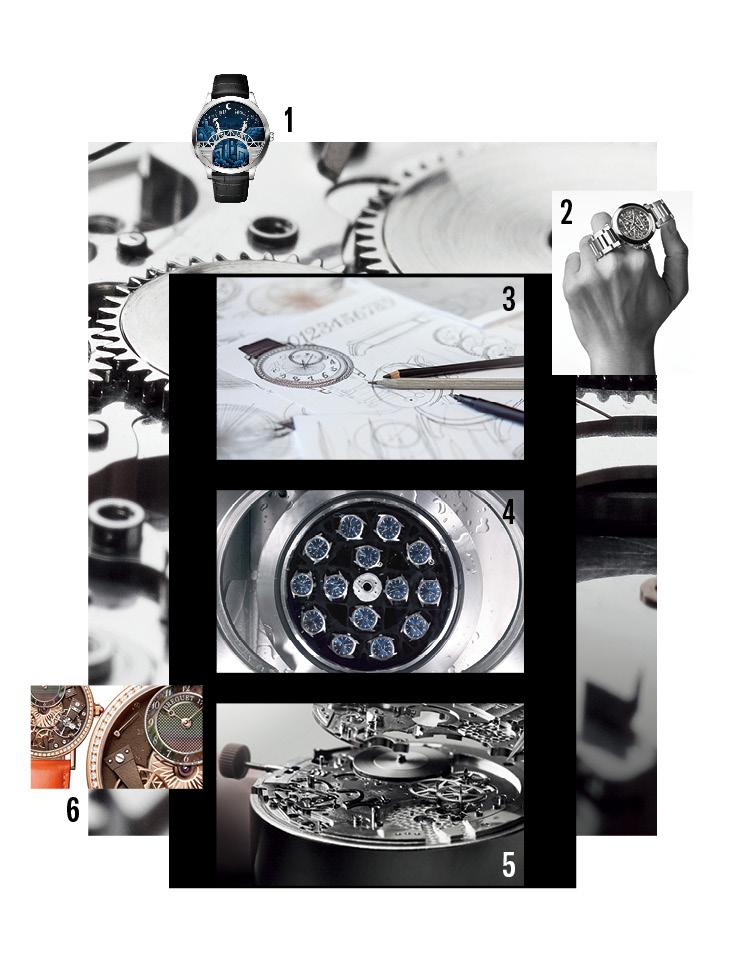 1 반클리프 아펠의 '미드나잇 퐁 데 자모르' 워치는 12시가 될 때마다 다이얼 가장자리에 있는 연인이 걸어나와 다리 중심부에서 만난다. 2 속이 훤히 들여다보여 무브먼트의 움직임을 세밀하게 관찰할 수 있는 '스켈레톤' 기법을 적용한 까르띠에의 '파샤' 워치. 3 바쉐론 콘스탄틴이 최근 선보인 여성용 모델 '에제리' 워치의 초기 드로잉. 4 오메가는 자사의 기술력을 입증하기 위해 자체적으로 만든 인증 시스템인 '마스터 크로노미터'를 통해 시계를 높은 자기장에 노출시키거나 물에 담그는 등 혹독한 환경에서 안정성을 테스트한다. 5 지난해 세계에서 가장 얇은 기계식 크로노그래프 워치로 신기록을 세운 불가리의 '옥토 피니씨모 크로노그래프 GMT 오토매틱'에 탑재된 'BVL 318' 무브먼트는 두께가 3.3mm에 불과하다. 6 무브먼트의 각 부분을 섬세한 세공과 보석으로 장식한 브레게의 '트레디션 7038' 워치.