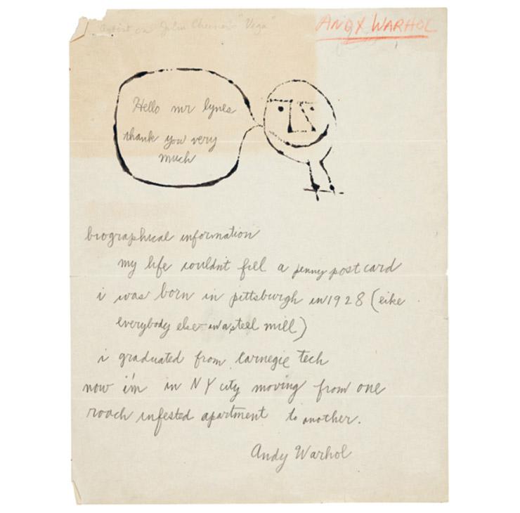 앤디 워홀이 러셀 라인즈에게 보낸 편지.