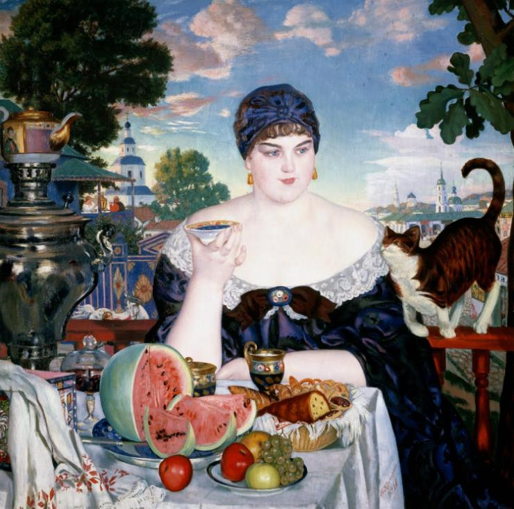 Merchant's Wife at Tea 보리스 쿠스토디예프, 1918